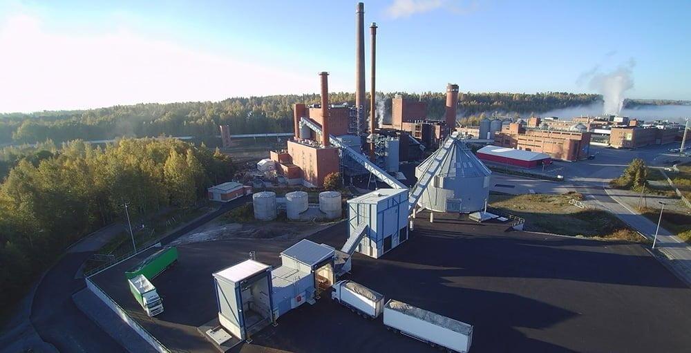 BMH:n toimittama tehdaslaitos ilmakuva